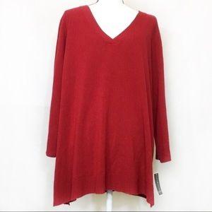 NWT Red Karen Scott acrylic sweater v neck 3x